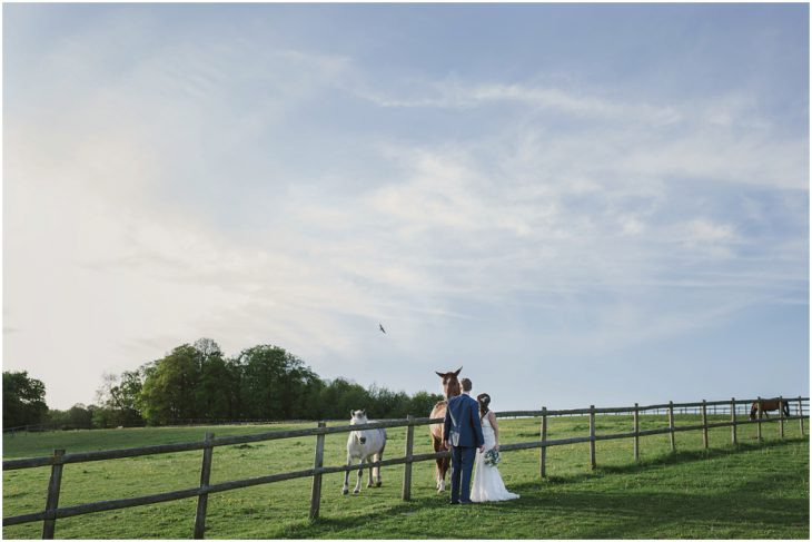bride and groom at Herons Farm