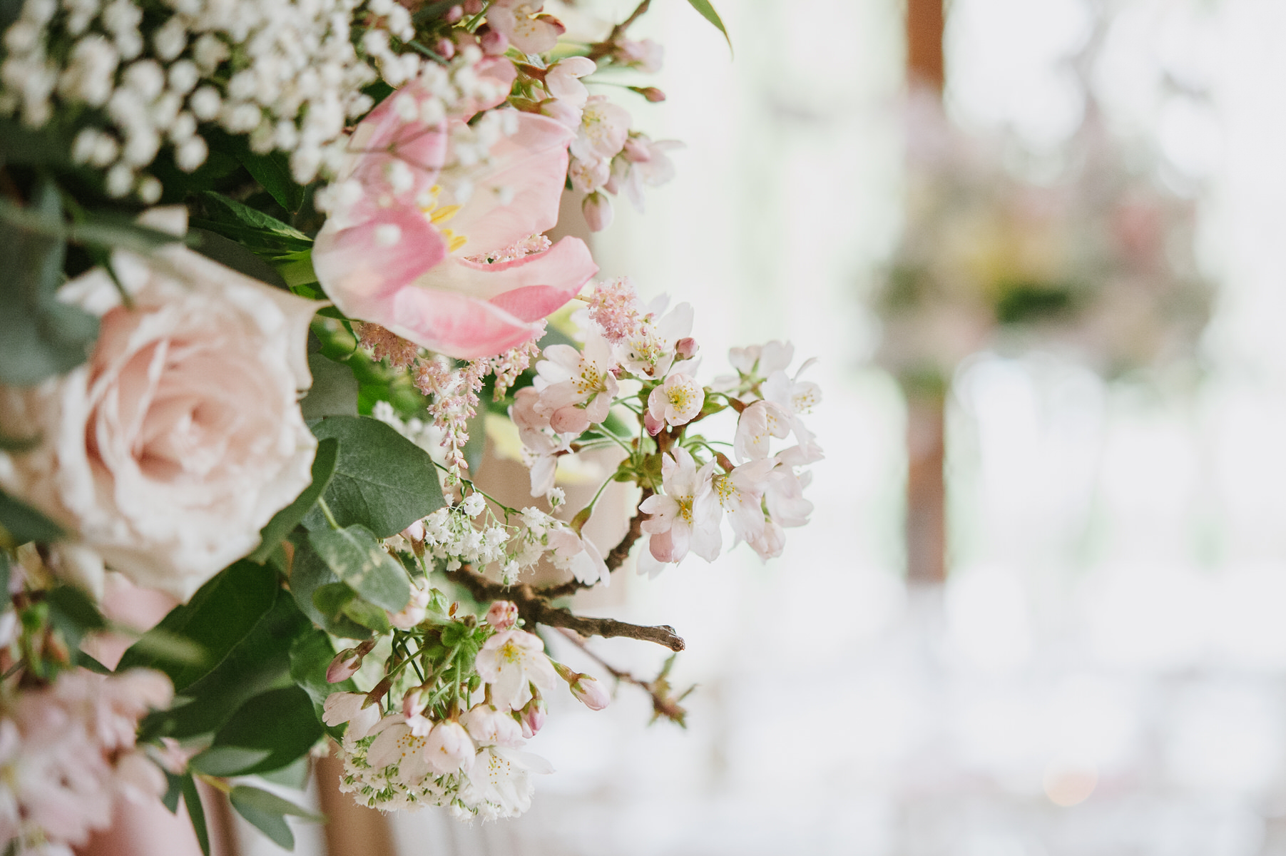 Cain Manor wedding spring pink blossom flowers