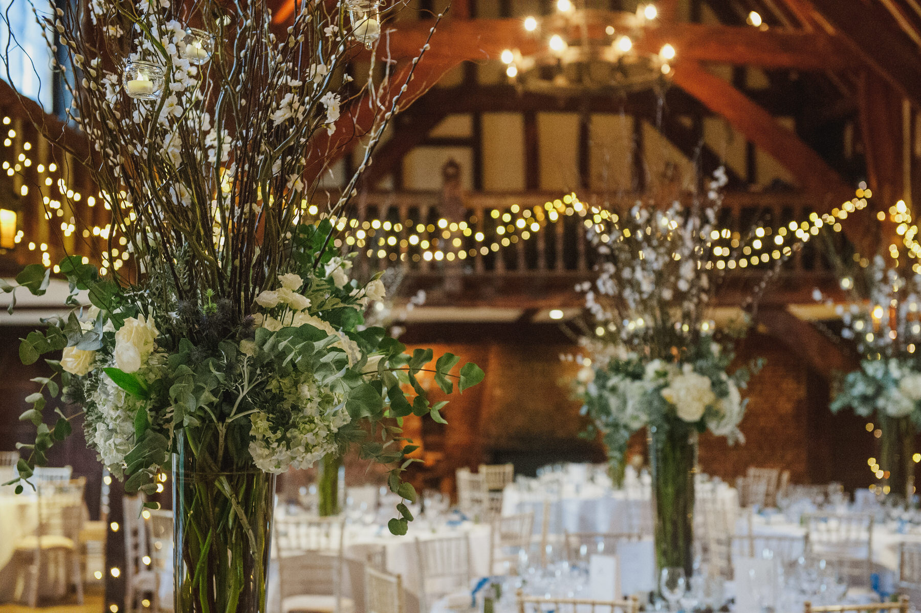 Great Fosters wedding Tithe Barn
