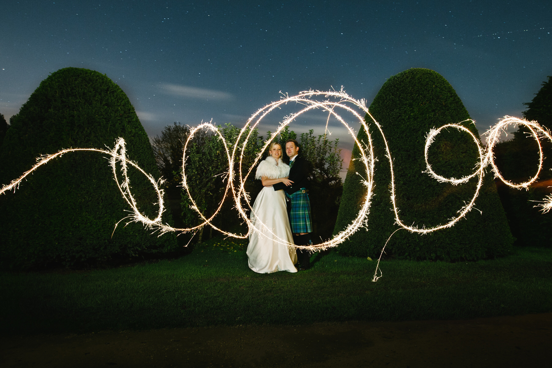 Great Fosters wedding sparkler shot