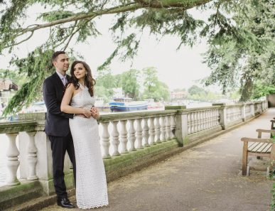 bride and groom York House by the river