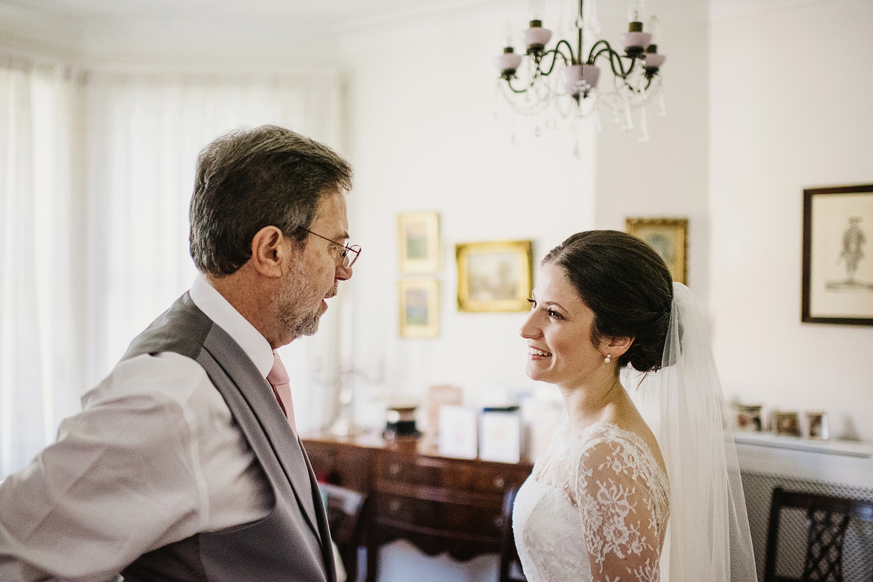 bride and father on her wedding morning