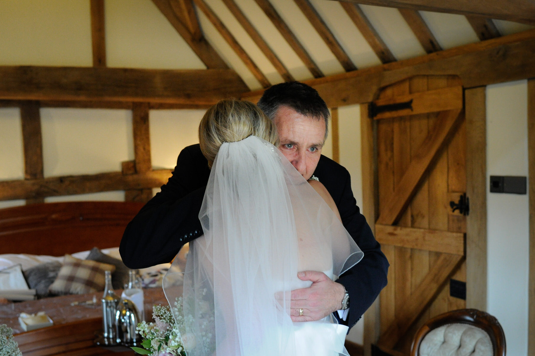 Cain Manor Dad hugging the bride
