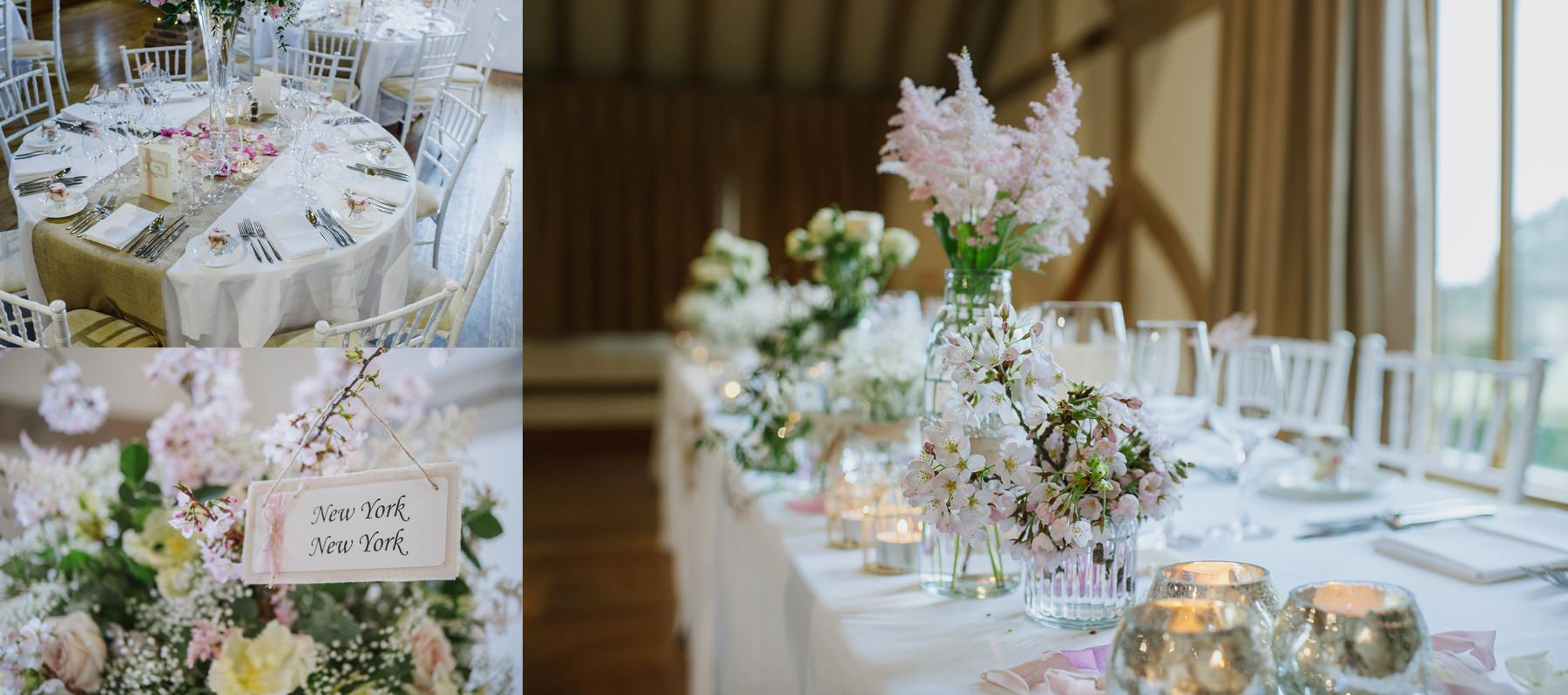 Cain Manor wedding soft pink and white table flowers