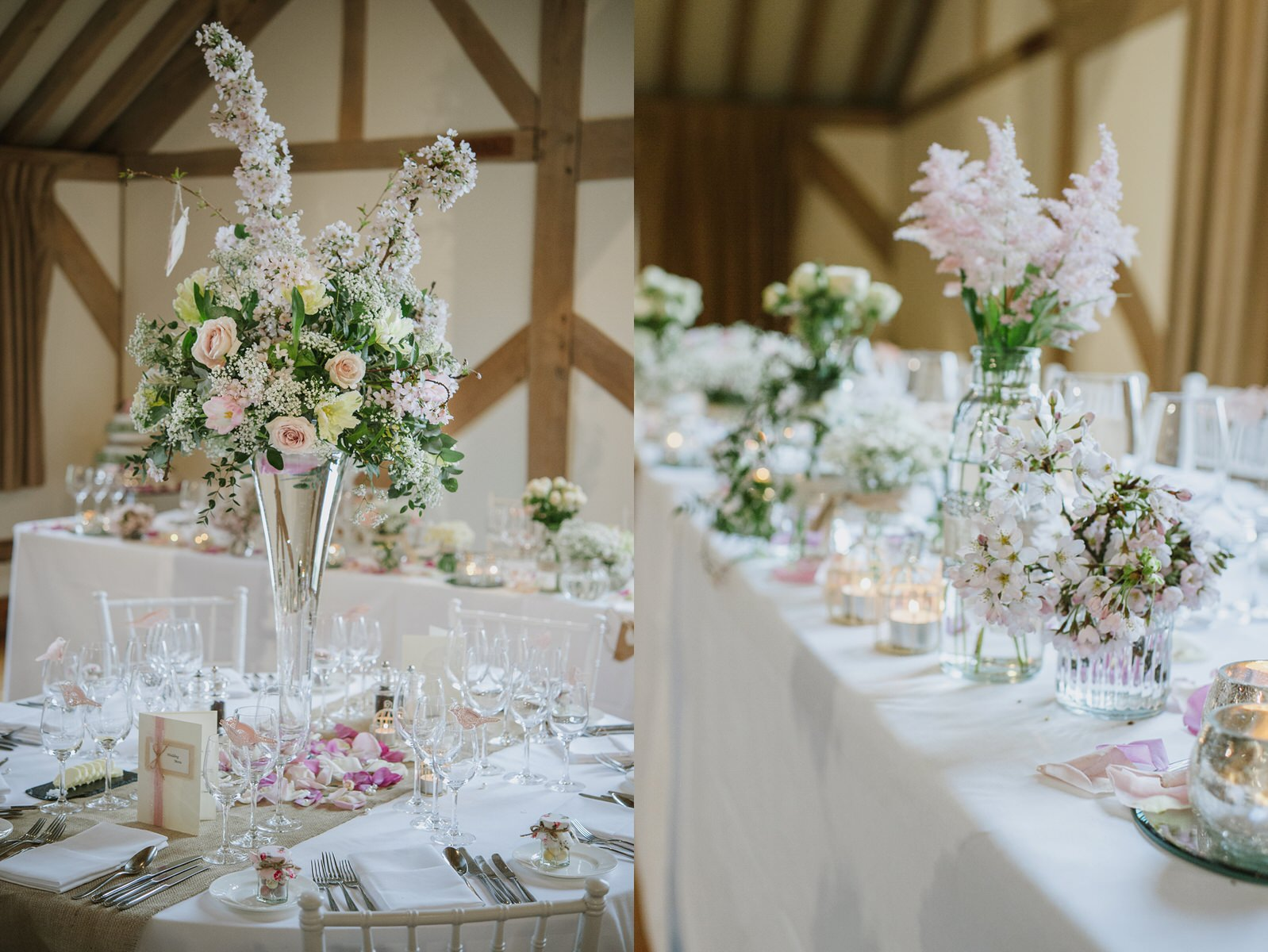Cain Manor wedding tall table centres with pink cherry blossom