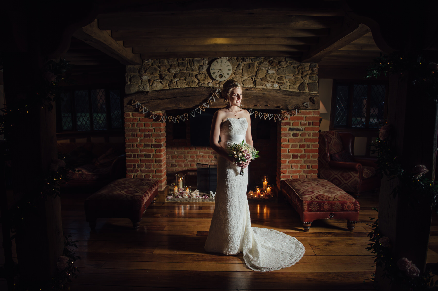 Cain Manor wedding bride portrait indoors