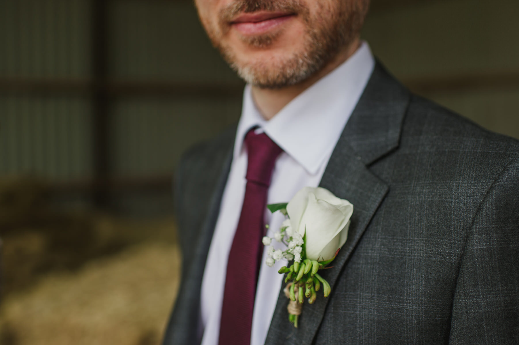 rustic buttonhole Herons Farm wedding