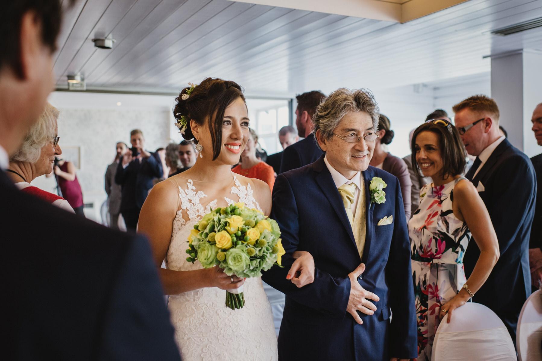 Ravens Ait wedding bride arriving