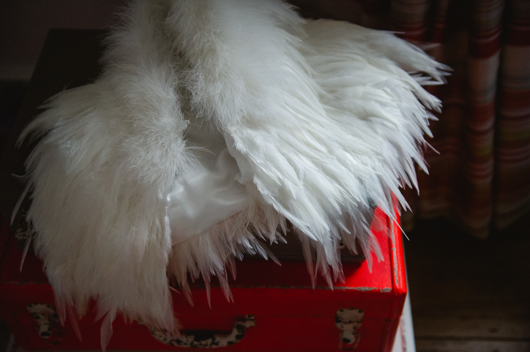Great Fosters wedding feather wrap