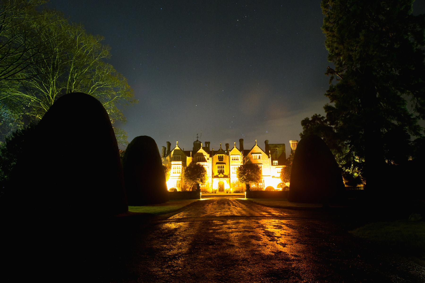 Great Fosters wedding venue at night