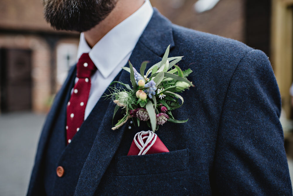Herons Farm Barn wedding groom buttonhole
