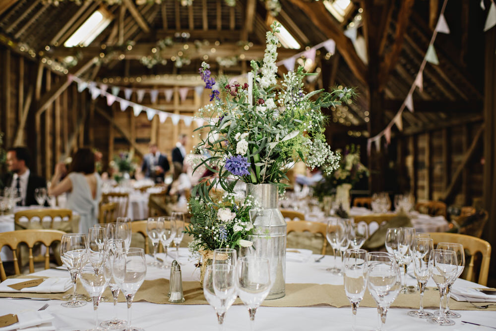 Herons Farm Barn wedding table setting