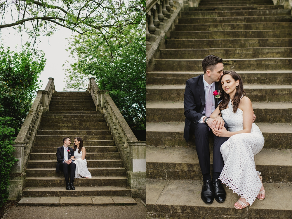 bride and groom on steps York House Twickenham