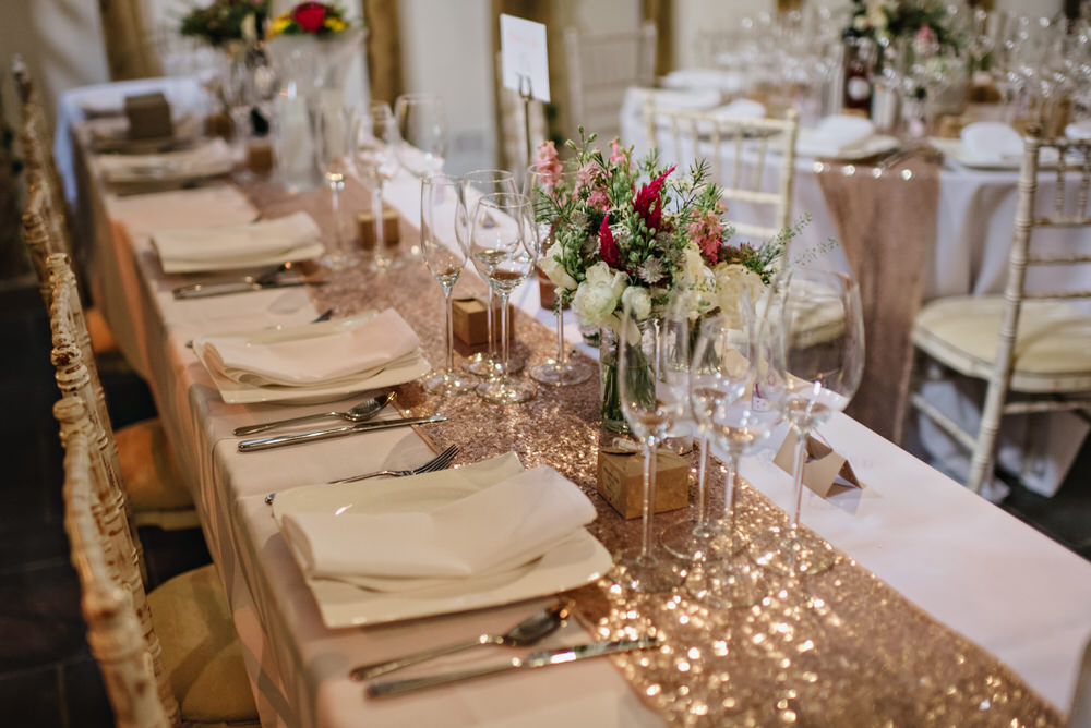 wedding top table with sequin runner