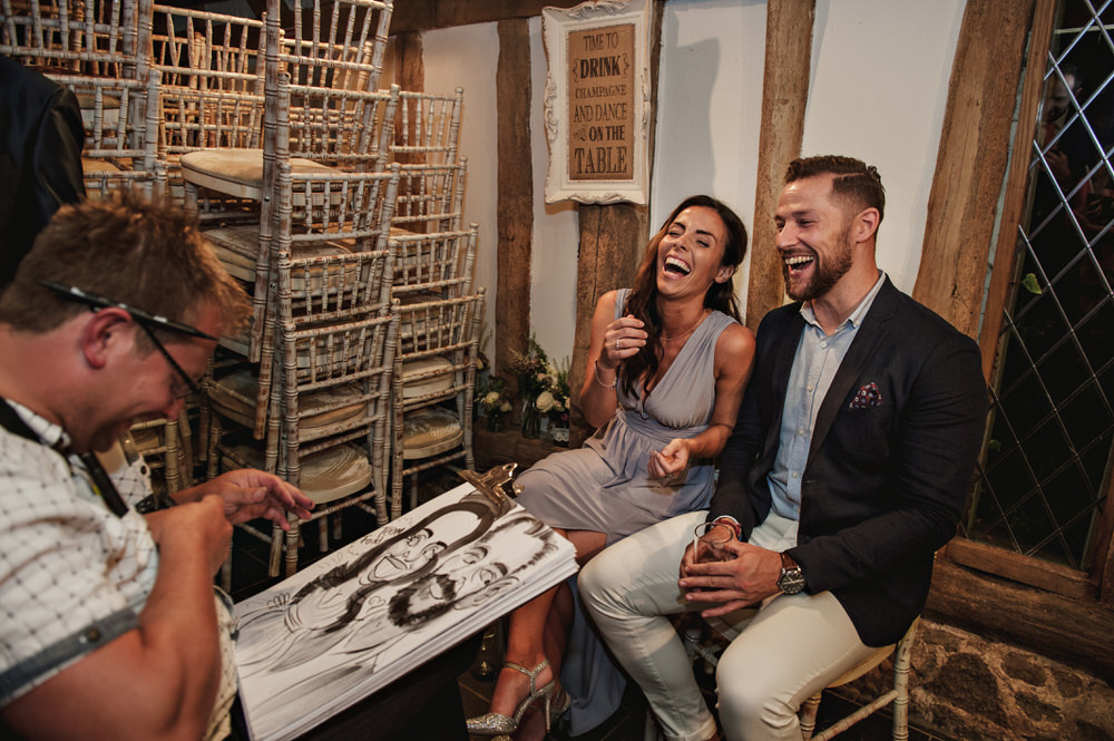 caricaturist at wedding